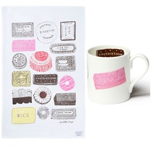 family favourites biscuit design mug and kitchen tea towel gift set in red black yellow pink