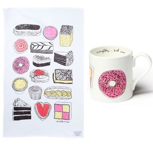 cake illustrated mug and tea towel gift set