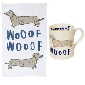 wooof dachshund sausage dog mug and kitchen tea towel set for dog lovers