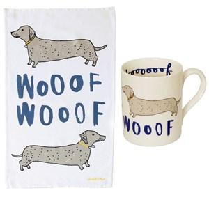 wooof dachshund sausage dog mug and kitchen tea towel set for dog lovers