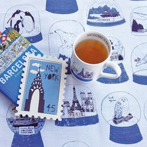 china mug with illustrations of snow globes and shakers of the world by Charlotte Farmer