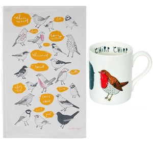 chirp bird mug and kitchen tea towel featuring robins, thrushes, tits and other cheerful birds