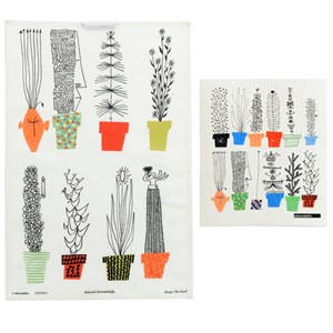 crazy pots tea towel and sponge cloth printed with colourful flower pots and humorous plants