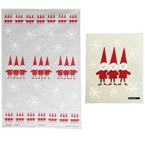 nordic elves tea towel & cloth gift set