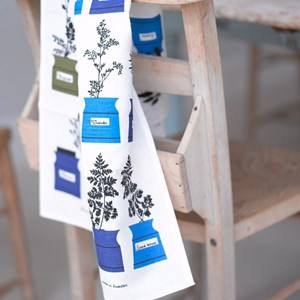 blue, white and green herb garden traditional cotton/linen kitchen tea towel