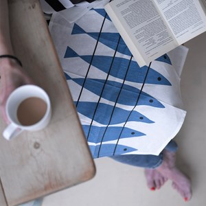blue and white cotton/linen traditional fabric napkins of vintage herring fish sill design