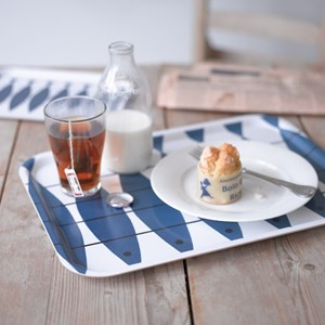 large blue & white laminated tray in vintage swedish herring fish design
