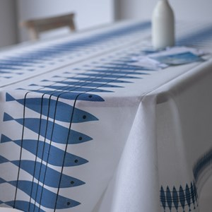 blue and white cotton/linen dinning tablecloth Swedish vintage in herring fish pattern