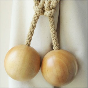 large wooden ball tiebacks - natural
