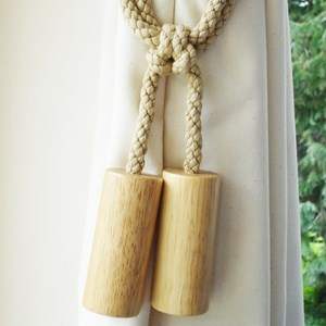 wooden cylinder tiebacks - natural