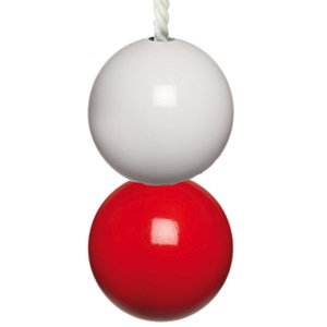 red & white double bathroom light pull or switch with cotton cord
