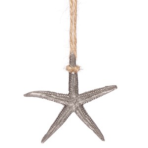 silver starfish roller blind pull in traditional pewter metal and jute cord