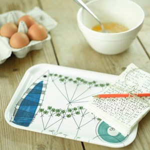 colourful picknick design small tray in a vintage swedish print by Marianne Westman