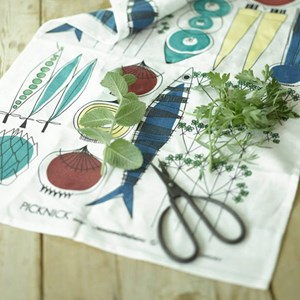 colourful picknick design kitchen tea towel in a vintage swedish print by Marianne Westman