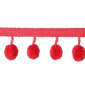 pom pom trim - berry red