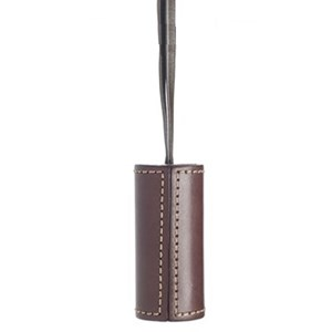 saddle leather cylinder blind pull - brown