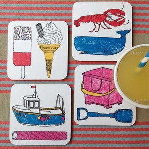 colourful seaside fun coasters by charlotte farmer featuring all things nautical