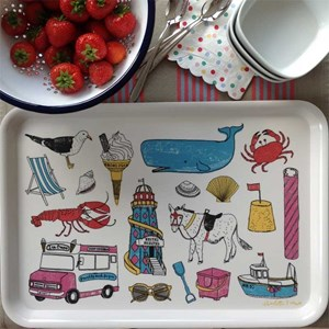 colourful seaside fun large tray by charlotte farmer featuring classic beach items