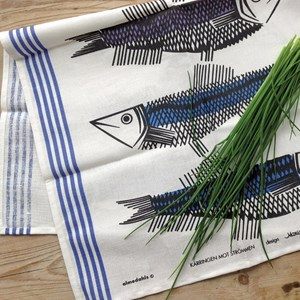 blue swedish fish cotton/linen kitchen tea towel of swimming fish