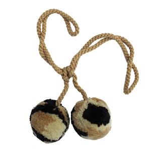 large pom pom woolly curtain tiebacks or holdbacks in tiger brown and black colour
