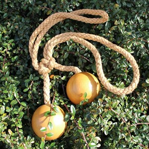 wooden ball curtain tieback in waxed colour