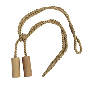 large natural wood cylinder curtain tieback for a modern home