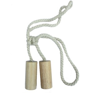 large whitewashed wood cylinder curtain tieback for a modern home