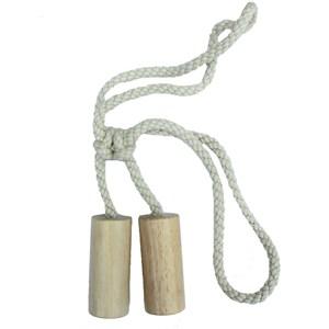 large wooden cylinder tiebacks -  whitewash