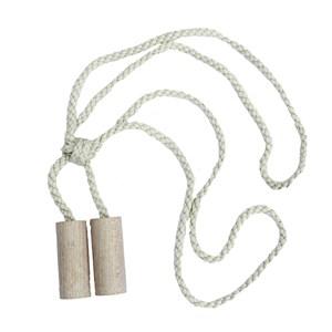 wooden cylinder tieback - whitewash