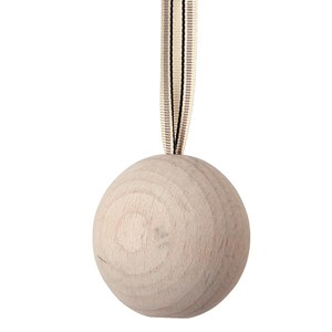 wooden ball blind pull -  whitewash with ribbon