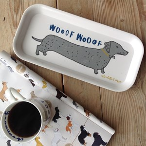 wooof drinks tray showing dachshund sausage dogs saying woof