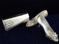 Spanish silver shoes and matching handbag