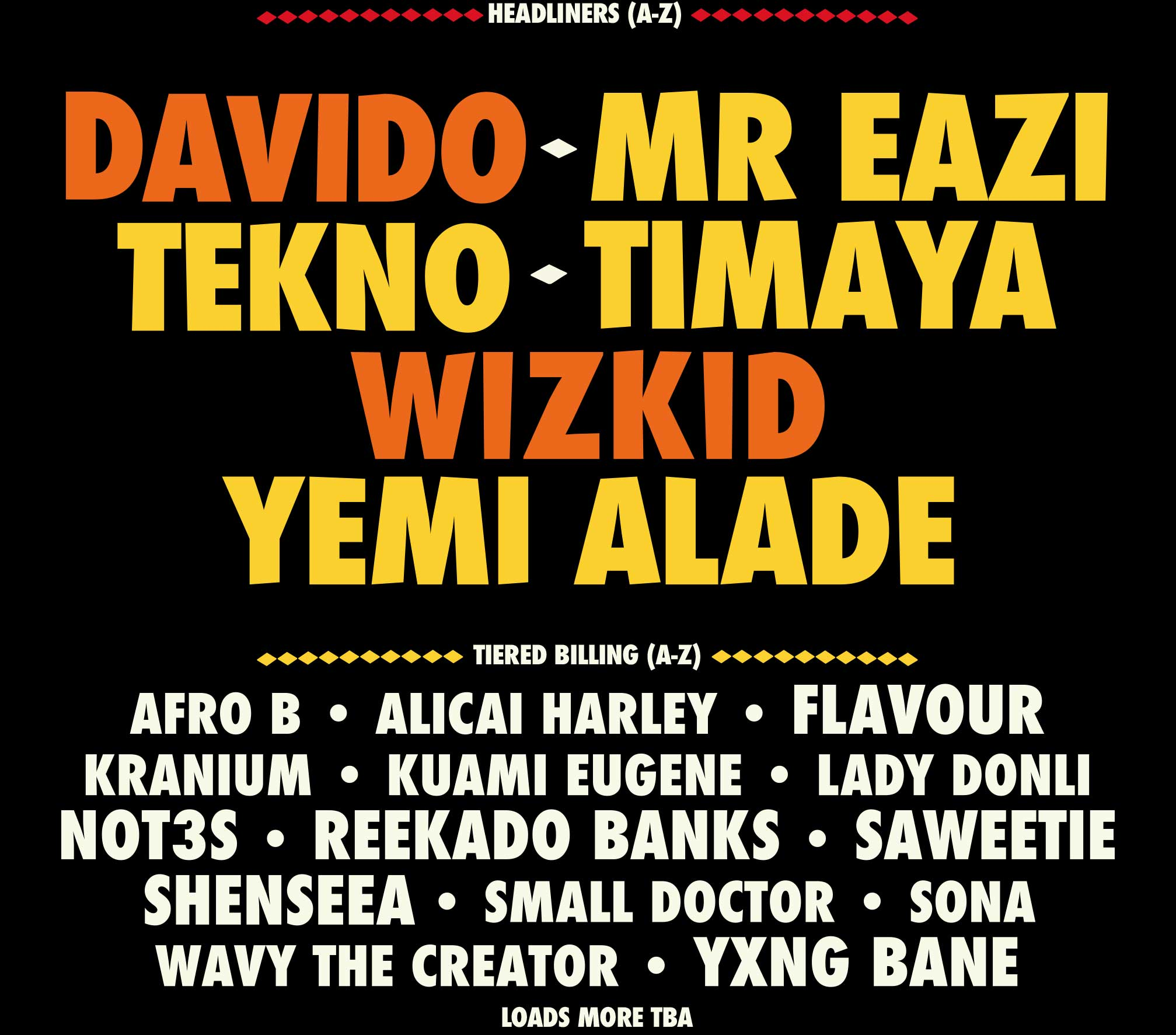 YAM Carnival line up