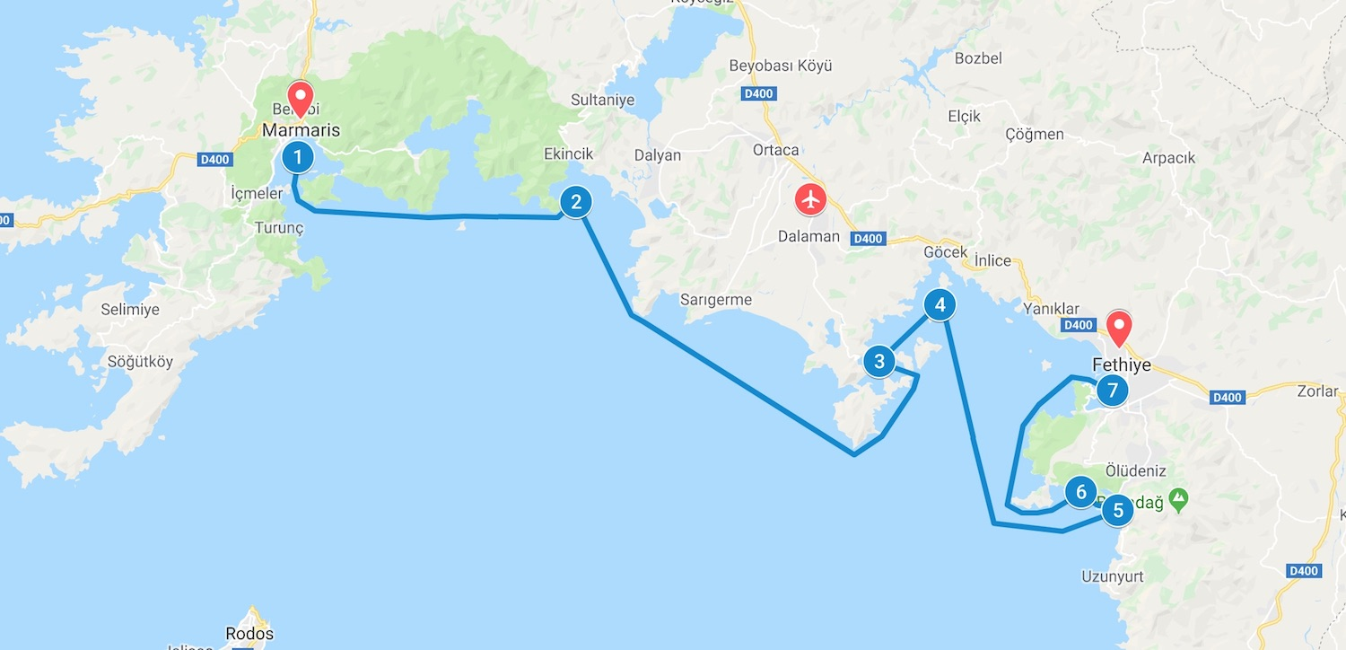 Map of itinerary of gulet cruise in Turkey from Marmaris a Fethiye