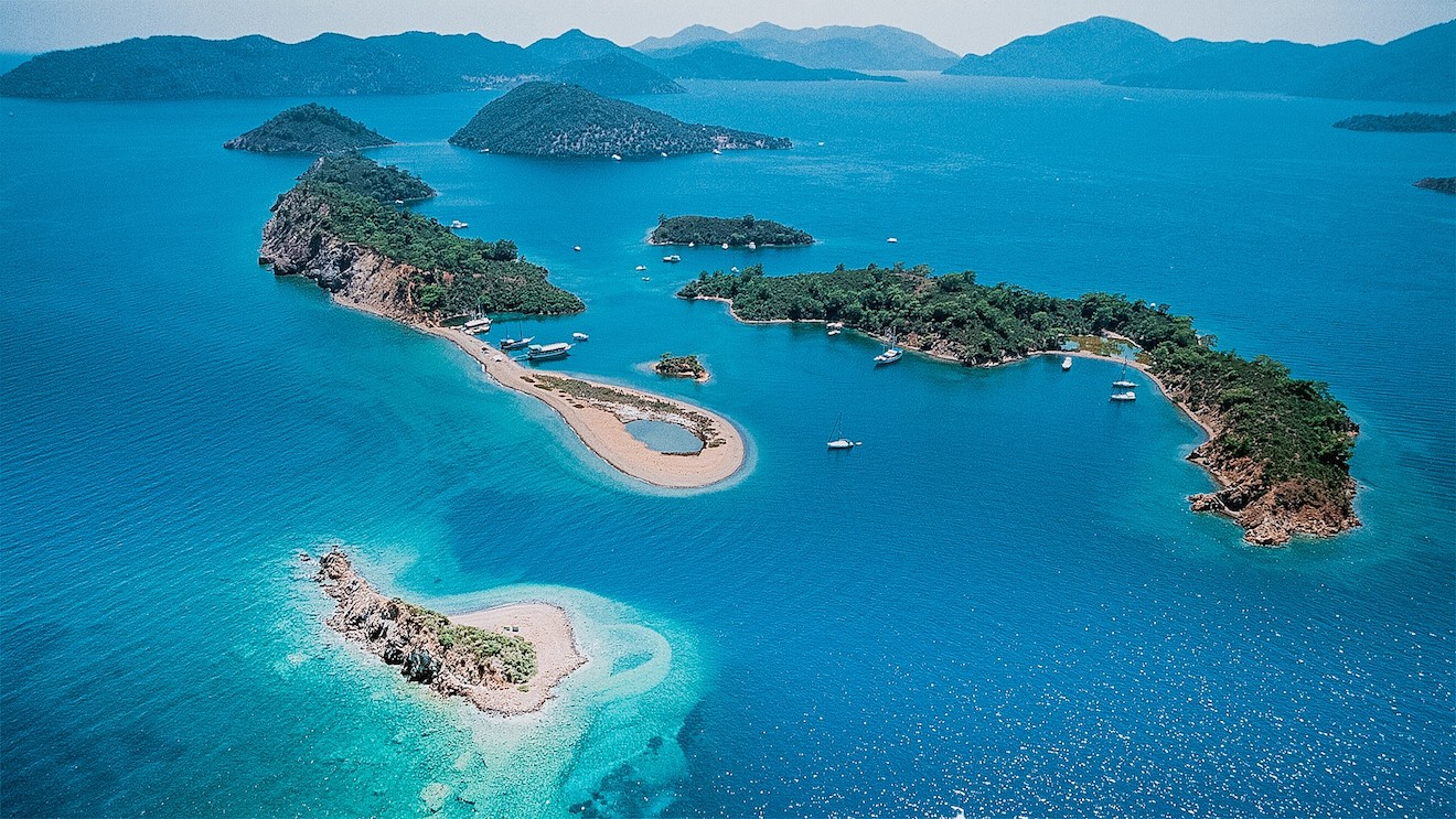 Luxury charter gulets anchored at the Yassica Islands, (12 Islands, Turkey)