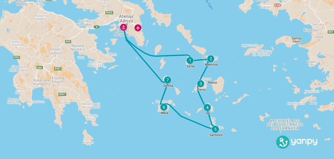1 week boat holiday route map in Greece.