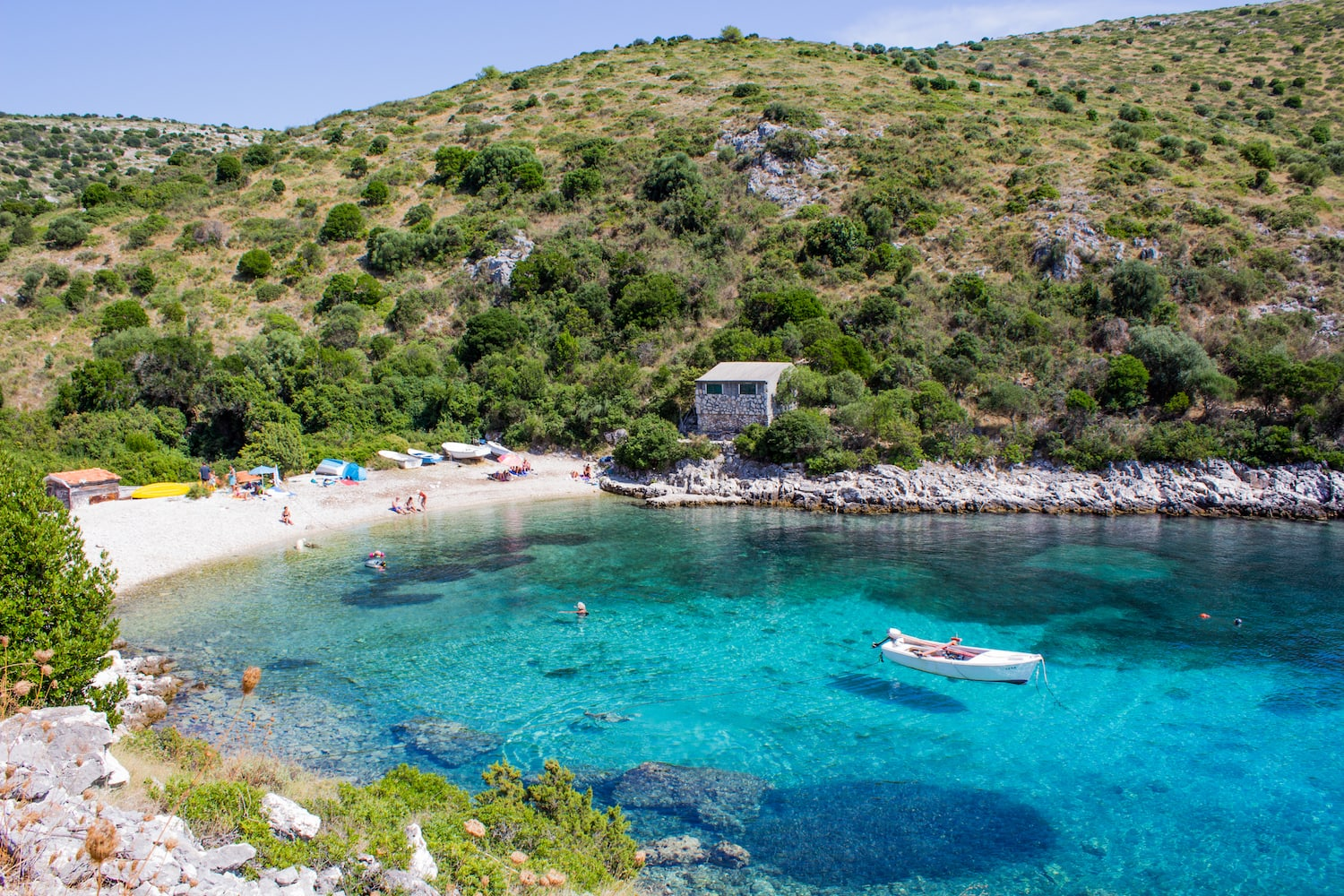 Paradise beach with crystal clear water in Dugi Otok, Kornati Islands.