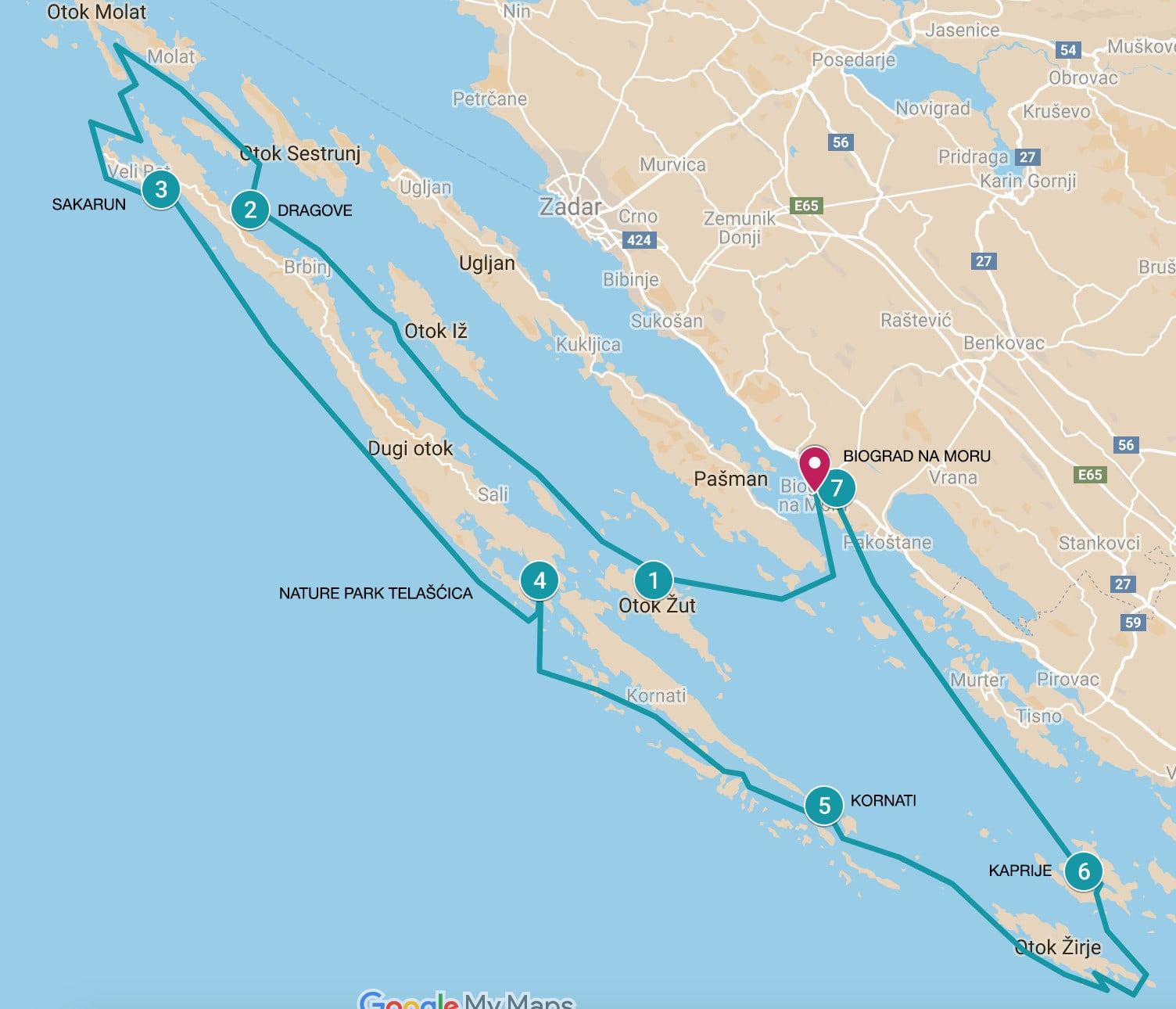 Map of sailing itinerary in Croatia and the Kornati Islands