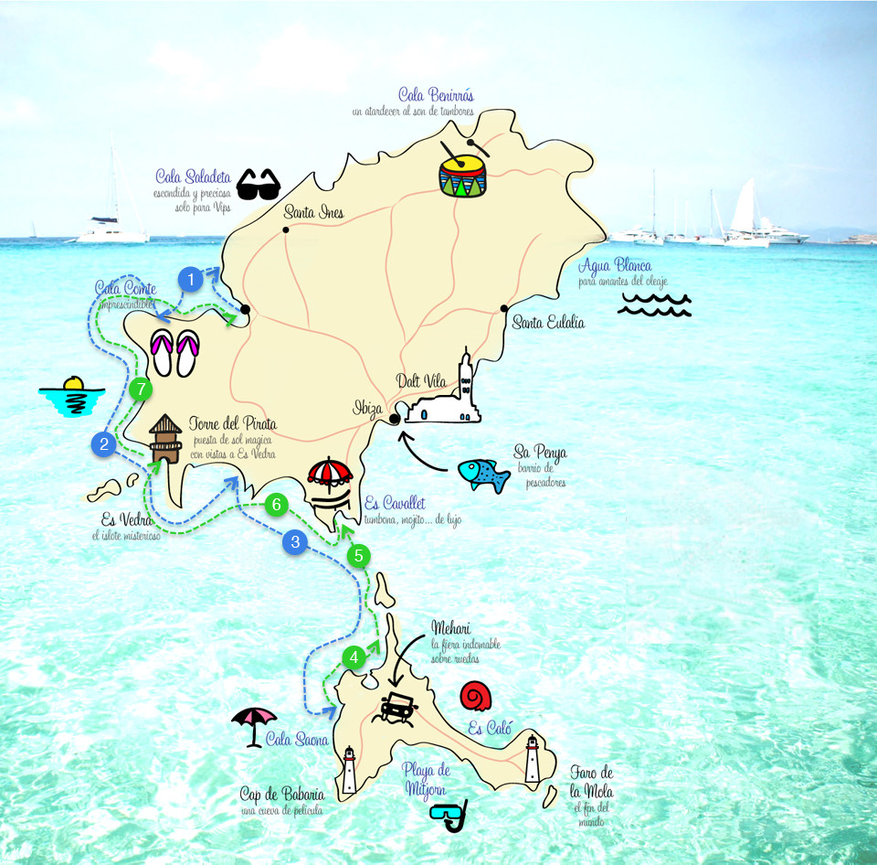 Map with sailing route around Ibiza and Formentera
