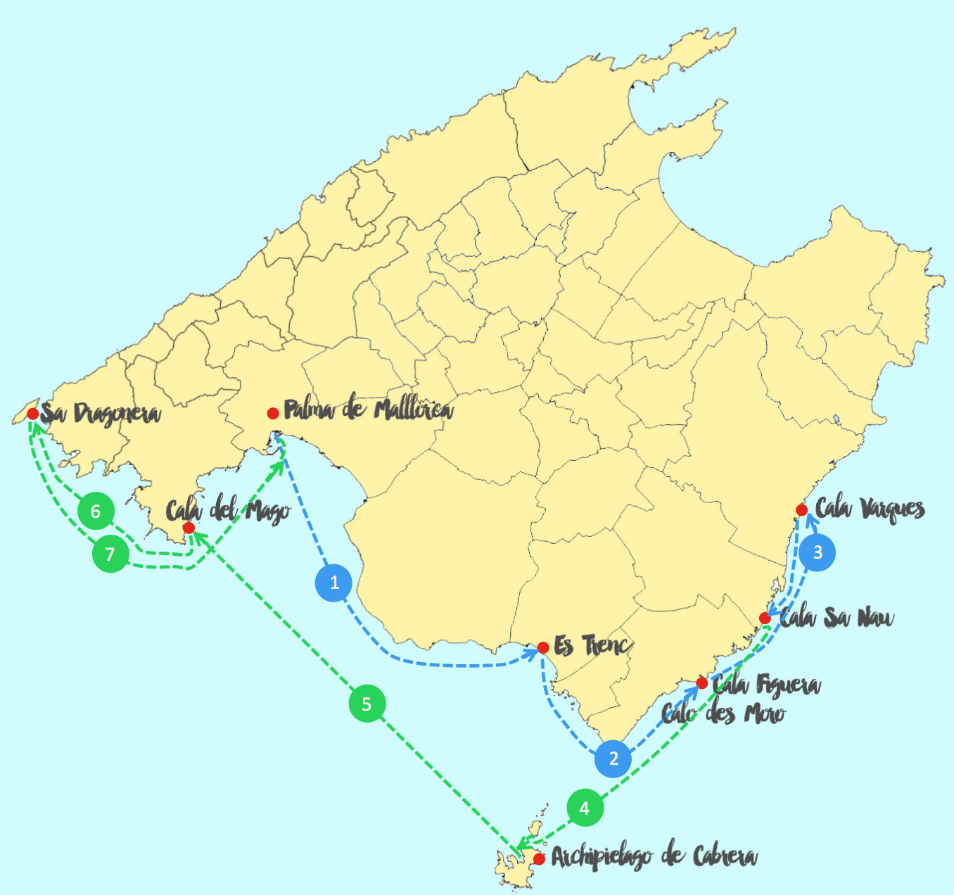 Sailing routes around Majorca South Coast Yanpy