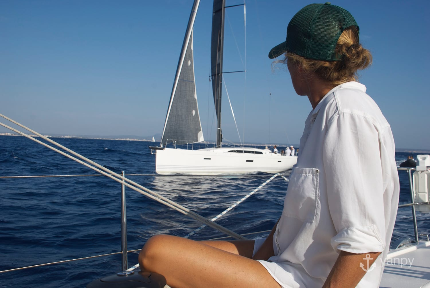 Woman sailing a boat in Majorca