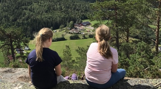 Two girls on mountain