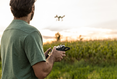 Farmer with drone