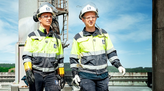 Workers at Porsgrunn plant