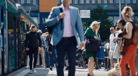 People on the street in Finland
