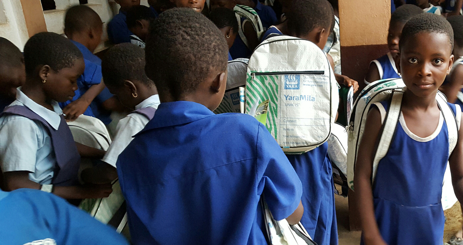 School bags made of recycled fertilizer bags