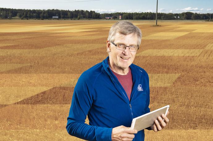 Esko Suomala tekee peltojensa satelliittikartat Yaran satelliittipalvelun avulla.