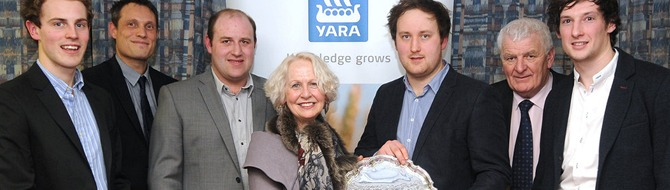 Allan Marshall's rink based in Perth emerged as 2015 champions. Skip Allan Marshall receives the silver salver from Yara's Marketing Manager Rosie Carne with team members (front) Kyle Smith, Colin Reid and Colin Howden; and (back) Yara's Managing Director Benoit Lamaison and Area Manager Alan Wood.