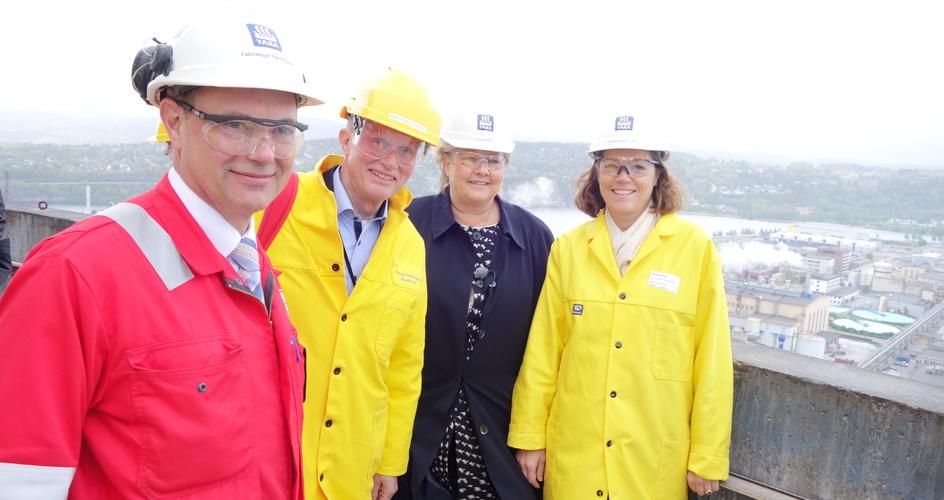 Norway Prime Minister Erna Solberg at Yara Porsgrunn prill tower