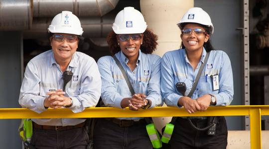 Three workers at Pilbara plant